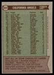 1976 Topps #304   -  Dick Williams Angels Team Checklist Back Thumbnail