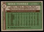 1976 Topps #25  Mike Torrez  Back Thumbnail