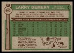 1976 Topps #563  Larry Demery  Back Thumbnail