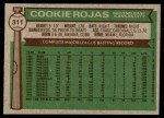 1976 Topps #311  Cookie Rojas  Back Thumbnail