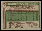 1976 Topps #42  Barry Foote  Back Thumbnail