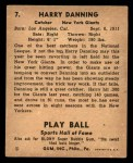 1941 Play Ball #7  Harry Danning  Back Thumbnail