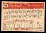 1952 Topps #148 CRM Johnny Klippstein  Back Thumbnail