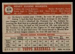 1952 Topps #229  Gene Beardon  Back Thumbnail
