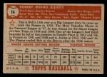 1952 Topps #14 RED Bob Elliott  Back Thumbnail