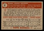 1952 Topps #41 RED Bob Wellman  Back Thumbnail
