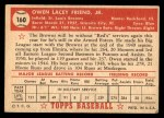 1952 Topps #160 CRM Owen Friend  Back Thumbnail