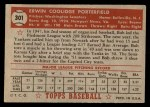 1952 Topps #301  Bob Porterfield  Back Thumbnail
