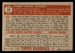 1952 Topps #77 RED Bob Kennedy  Back Thumbnail