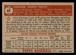 1952 Topps #63 RED Howie Pollet  Back Thumbnail