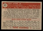 1952 Topps #277  Early Wynn  Back Thumbnail