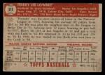 1952 Topps #111  Peanuts Lowrey  Back Thumbnail