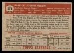 1952 Topps #275  Pat Mullin  Back Thumbnail