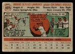 1956 Topps #305  Brooks Lawrence  Back Thumbnail
