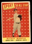 1958 Topps #487   -  Mickey Mantle All-Star Front Thumbnail