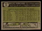 1961 Topps #15  Willie Kirkland  Back Thumbnail