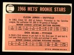 1966 Topps #67   -  Cleon Jones / Dick Selma Mets Rookies Back Thumbnail