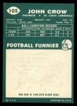 1960 Topps #105  John David Crow  Back Thumbnail