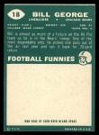 1960 Topps #18  Bill George  Back Thumbnail