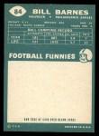 1960 Topps #84  Bill Barnes  Back Thumbnail