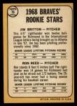 1968 Topps #76   -  Ron Reed / Jim Britton Braves Rookies Back Thumbnail
