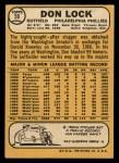 1968 Topps #59  Don Lock  Back Thumbnail