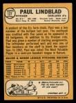 1968 Topps #127  Paul Lindblad  Back Thumbnail