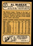 1968 Topps #514  Al McBean  Back Thumbnail