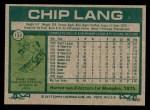 1977 Topps #132  Chip Lang  Back Thumbnail