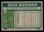 1977 Topps #101  Dick Bosman  Back Thumbnail