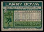 1977 Topps #310  Larry Bowa  Back Thumbnail