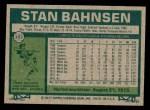 1977 Topps #383  Stan Bahnsen  Back Thumbnail