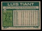 1977 Topps #258  Luis Tiant  Back Thumbnail