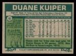 1977 Topps #85  Duane Kuiper  Back Thumbnail
