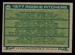 1977 Topps #493   -  Mike Krukow / Jim Otten / Gary Wheelock / Mike Willis Rookie Pitchers   Back Thumbnail