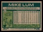 1977 Topps #601  Mike Lum  Back Thumbnail