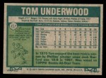 1977 Topps #217  Tom Underwood  Back Thumbnail