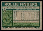 1977 Topps #523  Rollie Fingers  Back Thumbnail