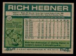 1977 Topps #167  Rich Hebner  Back Thumbnail