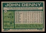 1977 Topps #541  John Denny  Back Thumbnail