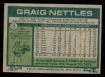 1977 Topps #20  Graig Nettles  Back Thumbnail