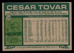 1977 Topps #408  Cesar Tovar  Back Thumbnail