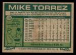 1977 Topps #365  Mike Torrez  Back Thumbnail