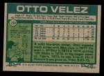 1977 Topps #299  Otto Velez  Back Thumbnail