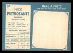 1961 Topps #31  Nick Pietrosante  Back Thumbnail