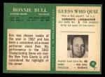 1966 Philadelphia #30  Ron Bull  Back Thumbnail