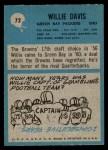 1964 Philadelphia #72  Willie Davis  Back Thumbnail