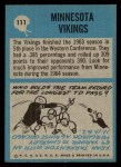 1964 Philadelphia #111   Vikings Team Back Thumbnail
