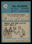 1964 Philadelphia #9  Bill Pellington   Back Thumbnail