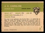 1961 Fleer #7  JC Caroline  Back Thumbnail